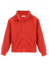 Watermelon red Kids Girl Stand Neck Solid Cute Fleece Jacket