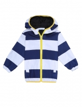 Kids Boy Girl Hooded Long Sleeve Striped Lightweight Zip-up Jacket Outwear