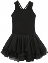 Black Sleeveless Patchwork Multi-Layered Chiffon Pleated Girls' Leotard Dress