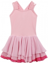 Pink Sleeveless Patchwork Multi-Layered Chiffon Pleated Girls' Leotard Dress
