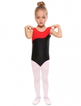 Black Girls' O-Neck Sleeveless Contrast Color Patchwork Dance Leotard