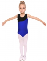 Blue Girls' O-Neck Sleeveless Contrast Color Patchwork Dance Leotard