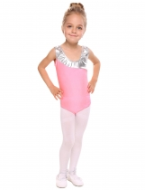 Pink Girls' O-Neck Sleeveless Contrast Color Patchwork Dance Leotard