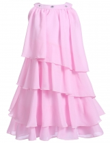 Pink Rhinestone Solid Multi-Layers Pleated Chiffon Cupcake Girls' Dress