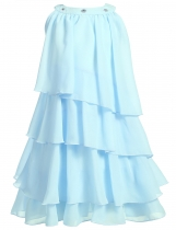 Skyblue Rhinestone Solid Multi-Layers Pleated Chiffon Cupcake Girls' Dress