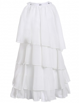 White Rhinestone Solid Multi-Layers Pleated Chiffon Cupcake Girls' Dress