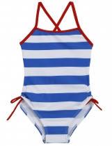 Blue O-Neck Sleeveless Back Cross Striped Bandage Girls' Swimsuit