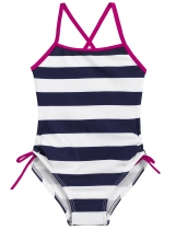 Navy blue O-Neck Sleeveless Back Cross Striped Bandage Girls' Swimsuit