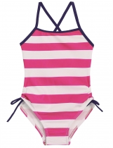Rose red O-Neck Sleeveless Back Cross Striped Bandage Girls' Swimsuit