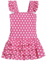 Pink Square Collar Sleeveless Ruffle One-Piece Girls' Swimwear Dress