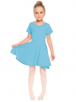 Blue O-Neck Short Sleeve Solid Pullover Pleated Dress