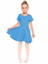 Dark blue O-Neck Short Sleeve Solid Pullover Pleated Dress