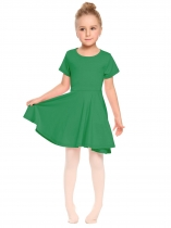 Green O-Neck Short Sleeve Solid Pullover Pleated Dress
