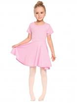 Pink O-Neck Short Sleeve Solid Pullover Pleated Dress