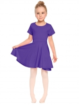 Purple O-Neck Short Sleeve Solid Pullover Pleated Dress