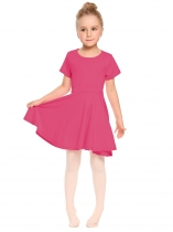 Rose red O-Neck Short Sleeve Solid Pullover Pleated Dress