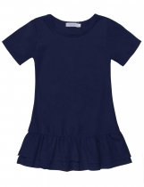 Dark blue O-Neck Short Sleeve Solid Pullover Double Layers Dress