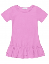 Pink O-Neck Short Sleeve Solid Pullover Double Layers Dress
