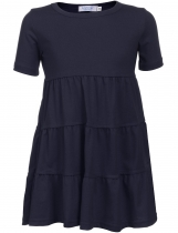 Dark blue Kids Girl O-Neck Short Sleeve Tiered Pullover Dress