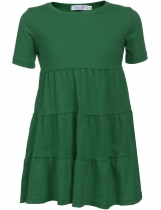 Green Kids Girl O-Neck Short Sleeve Tiered Pullover Dress