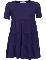 Purple Kids Girl O-Neck Short Sleeve Tiered Pullover Dress