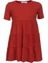 Red Kids Girl O-Neck Short Sleeve Tiered Pullover Dress