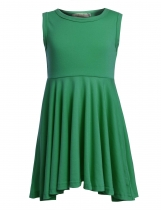 Green Kids Girl's O-Neck Sleeveless Solid Casual Swing Pleated Dress