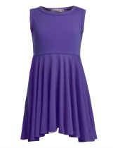 Purple Kids Girl's O-Neck Sleeveless Solid Casual Swing Pleated Dress