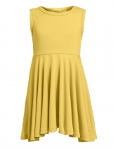 Yellow Kids Girl's O-Neck Sleeveless Solid Casual Swing Pleated Dress