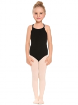 Black Girls' Spaghetti Strap Back Cross Strap Solid Dance Leotard