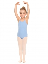 Blue Girls' Spaghetti Strap Back Cross Strap Solid Dance Leotard