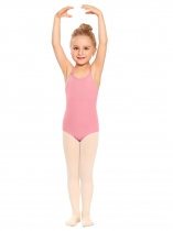 Pink Girls' Spaghetti Strap Back Cross Strap Solid Dance Leotard
