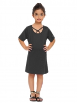 Black Kids Girl Criss Cross Front O-Neck Short Sleeve Solid Cute Dress