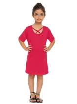 Rose red Kids Girl Criss Cross Front O-Neck Short Sleeve Solid Cute Dress