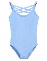 Girl Gym Dance Spaghetti Strap Solid Leotard