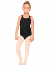 Black Girls' Gym Dance Back Rhombus Harness Solid Leotard