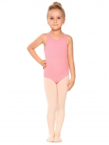 Pink Girls' Gym Dance Back Rhombus Harness Solid Leotard