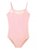 Girls' Gym Dance Spaghetti Strap Mesh Patchwork Leotard