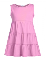Rose Pink Girl O-Neck Sleeveless Short Solid Tiered Dress