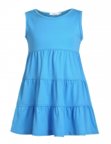 Light blue Girl O-Neck Sleeveless Short Solid Tiered Dress