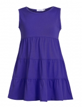 Purple Girl O-Neck Sleeveless Short Solid Tiered Dress