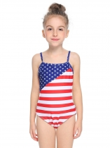 Blue Spaghetti Strap Backless Sleeveless Striped Star One Piece Swimsuit