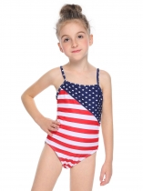 Dark blue Spaghetti Strap Backless Sleeveless Striped Star One Piece Swimsuit