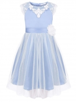Light blue Girls' O-Neck Sleeveless Lace Mesh Patchwork Dress