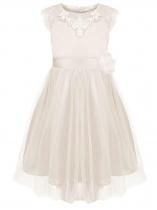 White Girls' O-Neck Sleeveless Lace Mesh Patchwork Dress