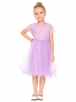 Purple Kids Girl O-Neck Short Cap Sleeve Patchwork Embroidery Dress
