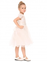 White Kids Girl O-Neck Short Cap Sleeve Patchwork Embroidery Dress