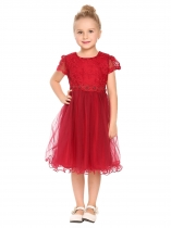 Wine red Robe de broderie en patchwork à manches courtes Kids Girl O-Neck