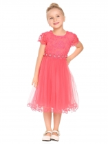 Melon d'eau rouge Robe de broderie en patchwork à manches courtes Kids Girl O-Neck
