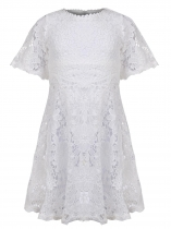 Kids Girl O-Neck Short Sleeve Lace A-Line Dress